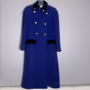 Vintage 1970s RARE Dior Wool Blue Overcoat full length cobalt blue and gold